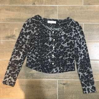 黑豹紋短針織外套/上衣
