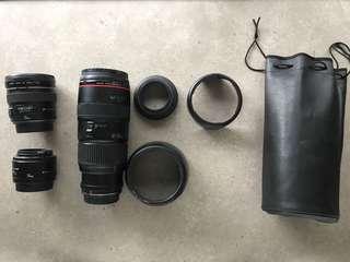 Canon Lenses. 20mm F2.8. 50mm F1.8. 80-200 f2.8