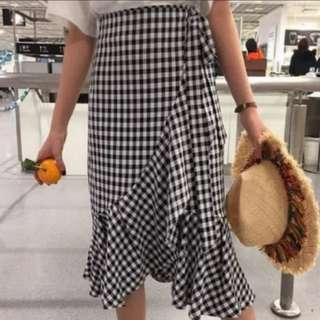 [INSTOCKS] Gingham Wrap Ruffles Ribbon Midi Skirt