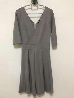 Grey Deep V Dress