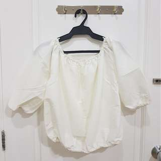 White Off Shoulder Cropped Top