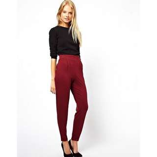 *2 for $10* BNWOT ASOS Peg Trousers in Oxblood