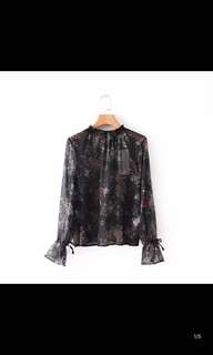Europe and the United States new Slim was thin printed blouse