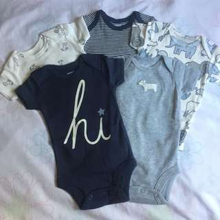 CARTER'S 5pcs baby onesies newborn to 3months