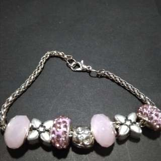 Pandora inspired bracelets with charms and glass bead
