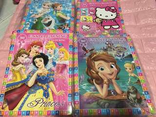 Instock A4 write 123 and Coloring book brand new (hello kitty /frozen/princess/Sofia) bulk purchase pm me .. set w crayon avail for $4.90 each