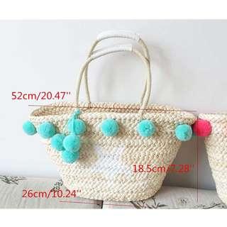 Pompom straw beach tote bag