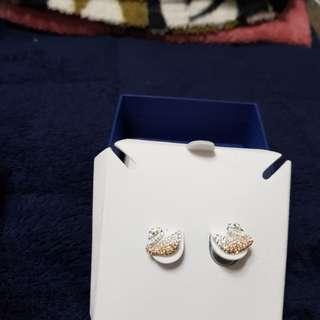Authentic Swarovski Iconic Swan Pierced Earringsl