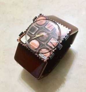 [全新] 德國品牌 S.T.A.M.P.S. 郵票錶 朱古力款 包四條真皮錶帶 + 一條PP錶帶 + 意大利冰石腕帶 (連包裝)