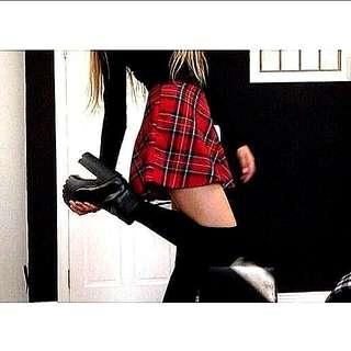 [PO] Red Plaid Checkered Skirt