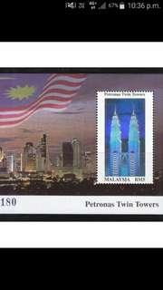 1999 Malaysia RM5 Petronas Twin Towers Miniature Sheet Stamp