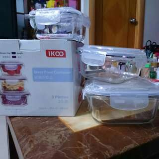 玻璃密封保鮮盒3件裝glass food container
