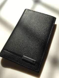 Black leather card holder and wallet