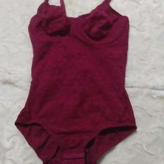 36c MaidenForm Maroon bodysuit with hook on crotch