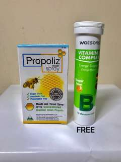 Propoliz Mouth Spray. 15ml. Remedy for sorethroat and mouth ulcers. FREE : Watsons Vitamin B Complex Effervescence.