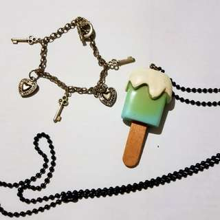 Charm Bracelet and Lollipop Necklace