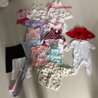[Preloved] (0-12M) Baby Girl Clothings In Bundle