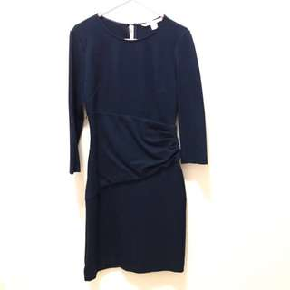 DVF navy blue work dress 深藍返工裙