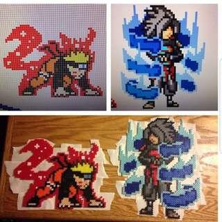 Hama beads design Anime Naruto shippuden naruto uzumaki vs madara uchiha