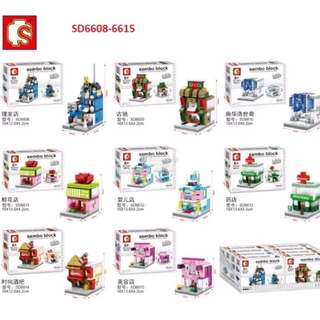 Sembo Building MINI Street Block Set SD6608-6615 *8 design*