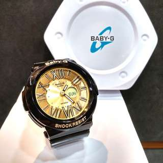 * FREE DELIVERY * Brand New 100% Authentic Casio BabyG Black Gold Baby G Roman Index Ladies Watch Baby-G BGA160 1B BGA160-1BDR