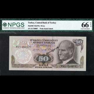 TURKEY 1976 50 LIRA GRADED