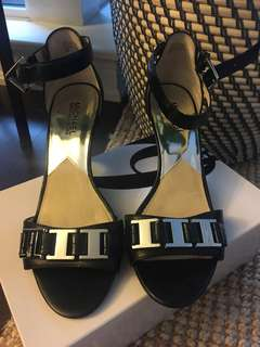 Michael Kors black leather heels - size 8