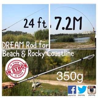 Ultra Light 7.2m / 24ft Telescopic Graphite Rod