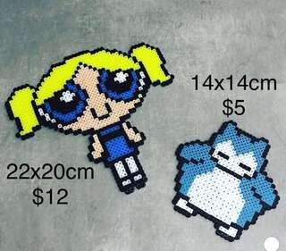 Beads Art Powerpuff Girl and Snorlax