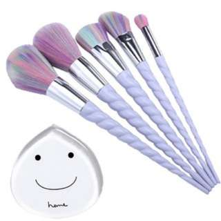 [PO214]Vander 5pcs Unicorn Makeup Brushes cosmetics blush brush+silisponge