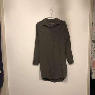 軍綠色綁帶襯衫式洋裝