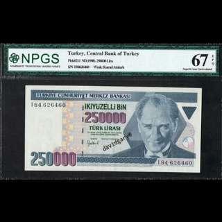 TURKEY 1998 250000 LIRA GRADED