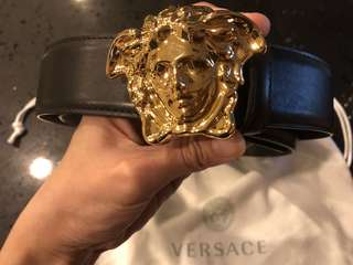 Authentic Versace Leather Belt in Gold Medusa Head!
