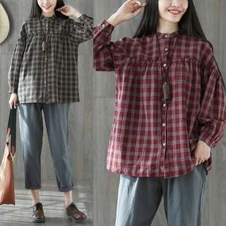 Plus Size Spring and summer cotton linen shirt female collar loose lace doll Plaid shirt