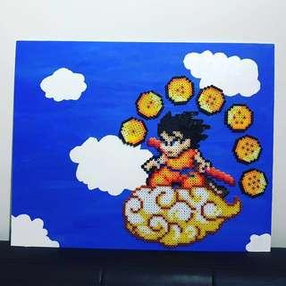 Beads Art - Goku on Nimbus on canvas