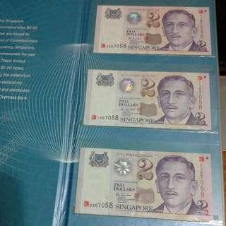 3 In 1 Singapore Millenium $2 Y2k 2000 Year Note Set Same Serial Numbers, Unc
