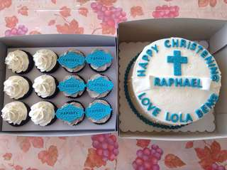 💙christening cake and cupcakes💙