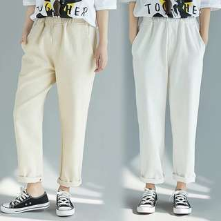 Plus size Spring and summer retro cotton cotton loose elastic waist solid color pants curled casual pants Harlan trousers