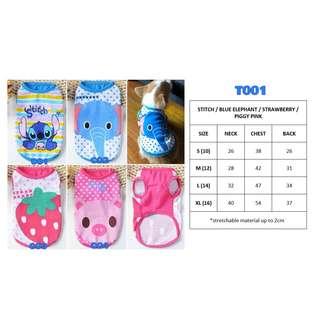 Dog Cat Rabbit Pet Clothes Stitch Elephant Strawberry Pig BRAND NEW