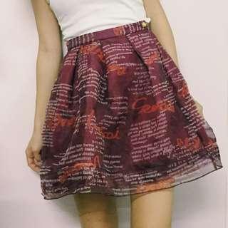 Lily Brown 復古英文字母柯根紗裙短裙