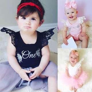 🦁Instock - 1st birthday romper, baby infant toddler girl children sweet kid happy abcdefgh hello there