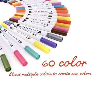 60 colour dual tips art sketch twin permanent marker pen highlighter