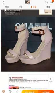 Baby pink strapped wedges