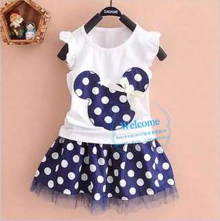 Ready Stock Dark Blue & Red Mickey Mouse Sets Dress