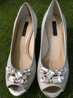 Wedding silver wedge shoes