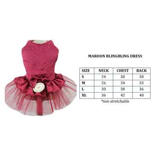 Dog Cat Rabbit Pet Clothes Maroon Dress