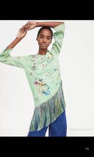 Europe and the United States asymmetric embroidered embroidery tassel shirt