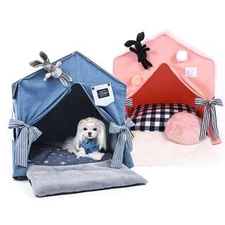 💙 PO💙 2018 New Collection premium high-quality Thick  denim canvas pet Dog 🐶 & cat 🐈 palace bed house