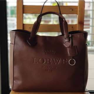 Loewe XL Luxe Brown Semi open Tote with lobster clasp to secure