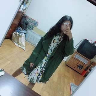 深綠色 墨綠色 大衣 薄外套